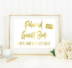 poloroid guest book wedding polaroid guest book print gold foil photo book sign