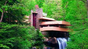Falling Water House by Nature Landscape Waterfall Long Exposure Frank Lloyd