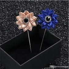 boutonniere pins online cheap new fashion bowknot men s blue rhinestone brooches