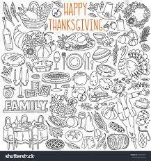 royalty free thanksgiving doodles set traditional 299191997