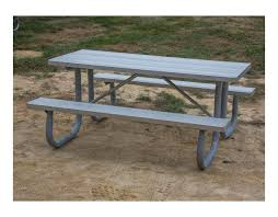 8 ft heavy duty aluminum picnic table with welded galvanized