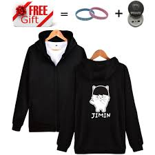latest brand clothing bts kpop cartoon design zipper hoodies hip