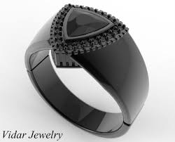 black band engagement rings mens wedding band black gold 1 carat black diamond vidar jewelry