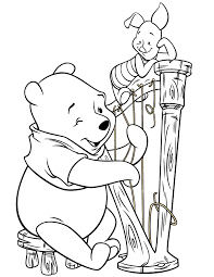 winnie the pooh playing harp instrument coloring page