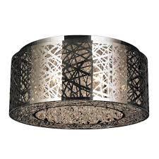 Crystal Ceiling Mount Light Fixture by Worldwide Lighting Aramis Collection 9 Light Chrome Crystal
