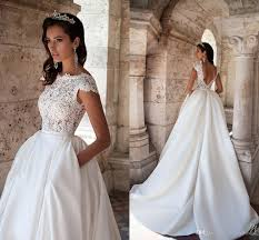 a line wedding dresses discount modest wedding dresses lace top cap sleeve backless with