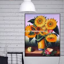 Home Decor Paintings by Hand Painted Sunflower Oil Pictures Artificial Flower Oil