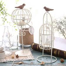 home decor bird cage white color bird cage decoration candle