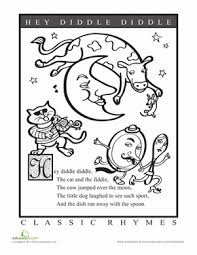 hey diddle diddle coloring page hey diddle diddle worksheets