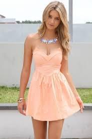 dress orange dress sweetheart neckline skater dress peach