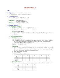 mathematics v lp 1 st to 4th grading
