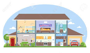 home interior with room furniture vector illustration detailed