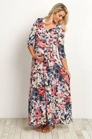 Maternity Drape Dress Rose Watercolor Floral Draped Maternity Maxi Dress