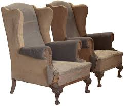 Beige Wingback Chair Pair Of Primitive Tall Wingback Lounge Chairs At 1stdibs