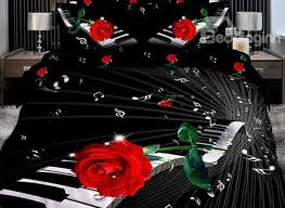 Black Floral Bedding Elegant Piano With Red Rose 3d Print 4 Piece Cotton Duvet Cover