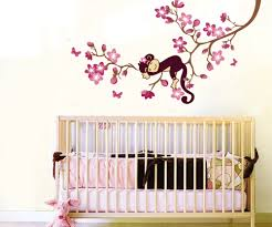 bedroom fancy pink flower and monkey wall mural above simple full size of bedroom fancy pink flower and monkey wall mural above simple teak crib