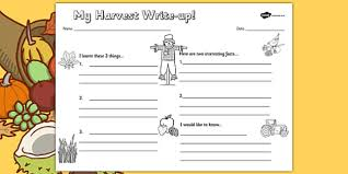 harvest writing frames and worksheets primary page 1