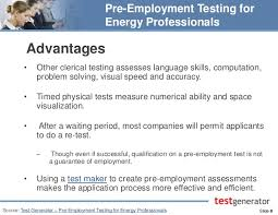 pre employment testing for energy professionals