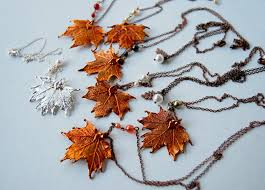 real leaf necklace images Unique real leaf necklace design for bride and bridesmaids jewelry jpg