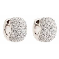 white gold huggie earrings white gold huggie earrings with diamonds pave set zydo italy