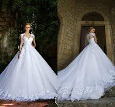 princess style wedding dresses new style wedding dresses 2016 lace appliques v neck cap sleeves
