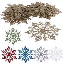 12pcs new glitter snowflake ornaments tree hanging