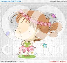 clipart of a sketched caucasian wearing a flower crown and