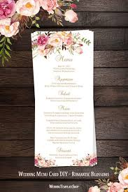 wedding menu cards wedding menu card blossoms tea length printable diy