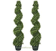 two pre potted 4 spiral boxwood artificial topiary