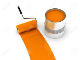 orange paint roller and steel can isolated on white background