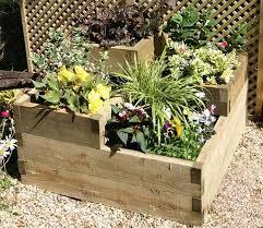 Raised Flower Bed Corners - 3 tiered raised bed wooden corner planter planters herb