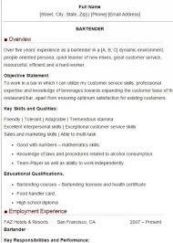 bartending resume exles bartending resume sle best resume collection
