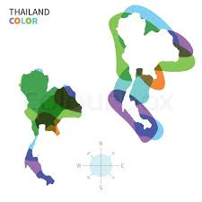abstract vector color map of thailand with transparent paint