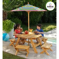 Octagon Patio Table by Kidkraft Octagon Picnic Table With 4 Stools U0026 Umbrella