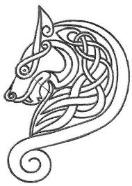 celtic wolf motif leather tatoo and