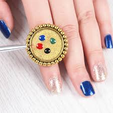 2 29 gold nail art paint palette ring manicure mixing painting