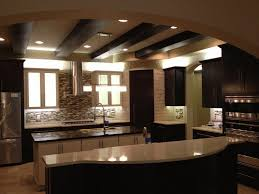 kitchen lighting low ceiling rectangle dark brown textured wood