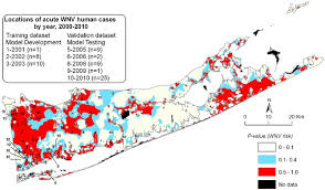suffolk county map suffolk county nile virus wnv human risk map based on the