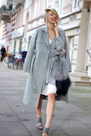 women u0027s grey shawl grey coat white midi dress grey leather