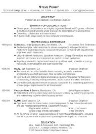 Sample Resume For Engineering Internship by Audio Video Technician Cover Letter