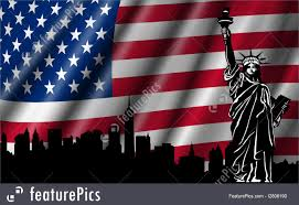 United States American Flag Usa American Flag With Statue Of Liberty Skyline Silhouette