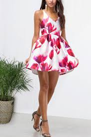 Summer Garden Dresses - fit flare spaghetti strap print party dress white red memdalet