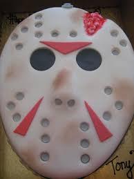 jason mask halloween jason mask jason mask oval shaped cake covered with fondant