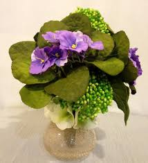 Home Plant Decor by Purple African Violet And Sedum Plant Arrangement In Copper Glass