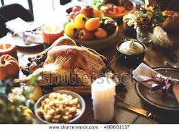 roasted turkey thanksgiving tradition celebration concept stock