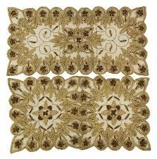 3xbeige net table cover hand beaded mat home decor sequins runner 3xbeige net table cover hand beaded mat home