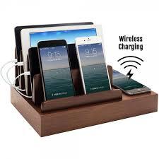 Electronic Charging Station Desk Organizer Charging Desk Organizer With Wireless Smart Charging Pad 6 Usb Ports