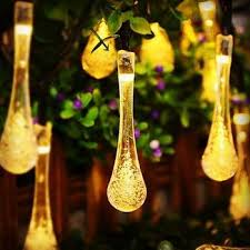 Outdoor Solar String Lights Patio Solar Powered Raindrop String Lights Light Bulb Bulbs And Patios