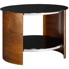 small round rustic walnut lamp table black glass wooden