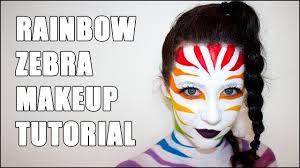 rainbow zebra halloween facepaint makeup tutorial youtube